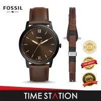 Fossil Minimalist Three-Hand Date Leather Men's Watch FS5557SET