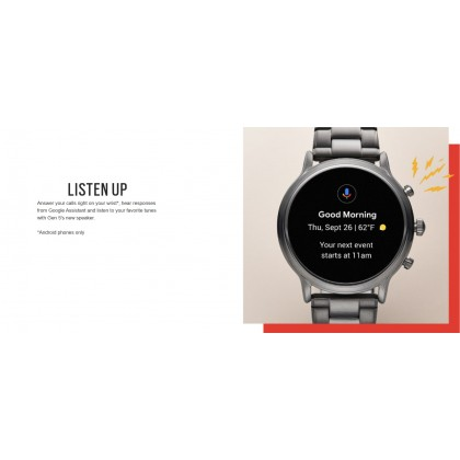 Fossil The Carlyle Gen 5 HR Black Silicone Men's Smart Watch FTW4025