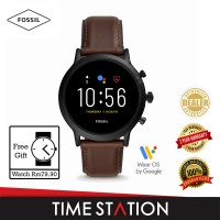 Fossil The Carlyle Gen 5 HR Dark Brown Leather Men's Smart Watch FTW4026