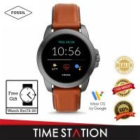 【Timestation】Fossil Gen 5E Brown Leather Men's Smart Watch FTW4055